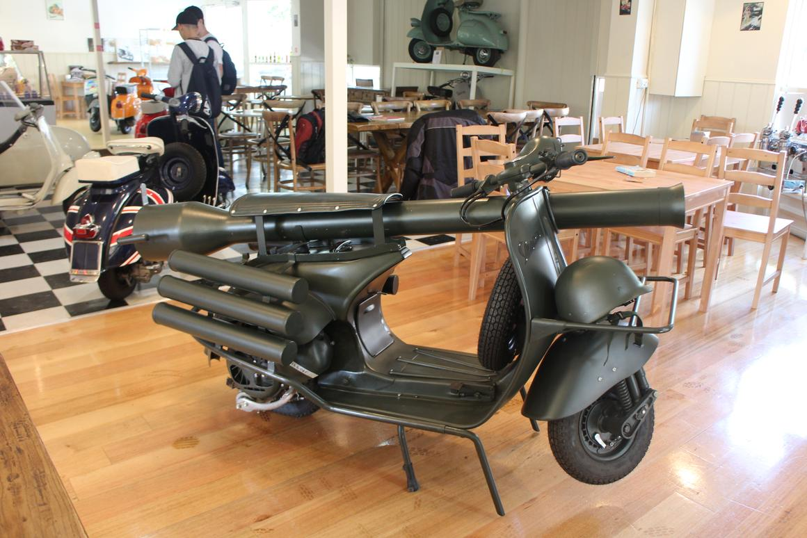 Vespa's 150 TAP (Troupes Aéro Portées) was designed to be dropped into battle by parachute and offered a highly mobile lethal capability
