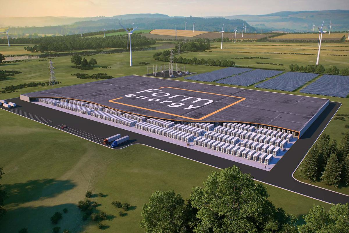 """Boston's Form Energy says its iron-air battery systems will provide long-term grid-scale energy storage at a tenth the price of lithium """"big battery"""" installations"""