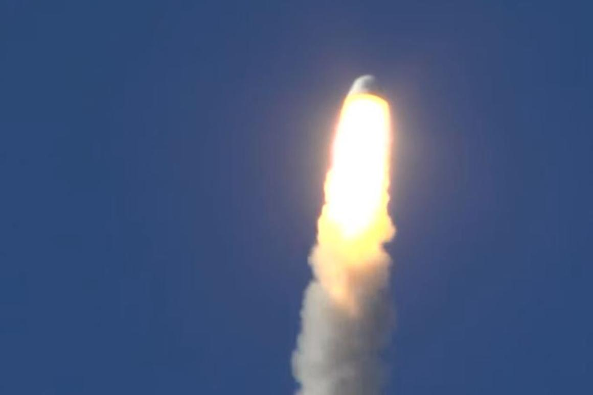 The New Shepard's crew capsule rocketing away from its booster