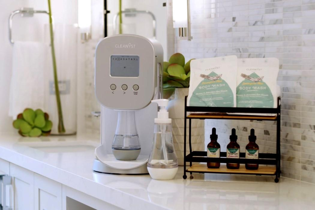 The compact household appliance utilizes a simple design that allows users to blend their own homecare products