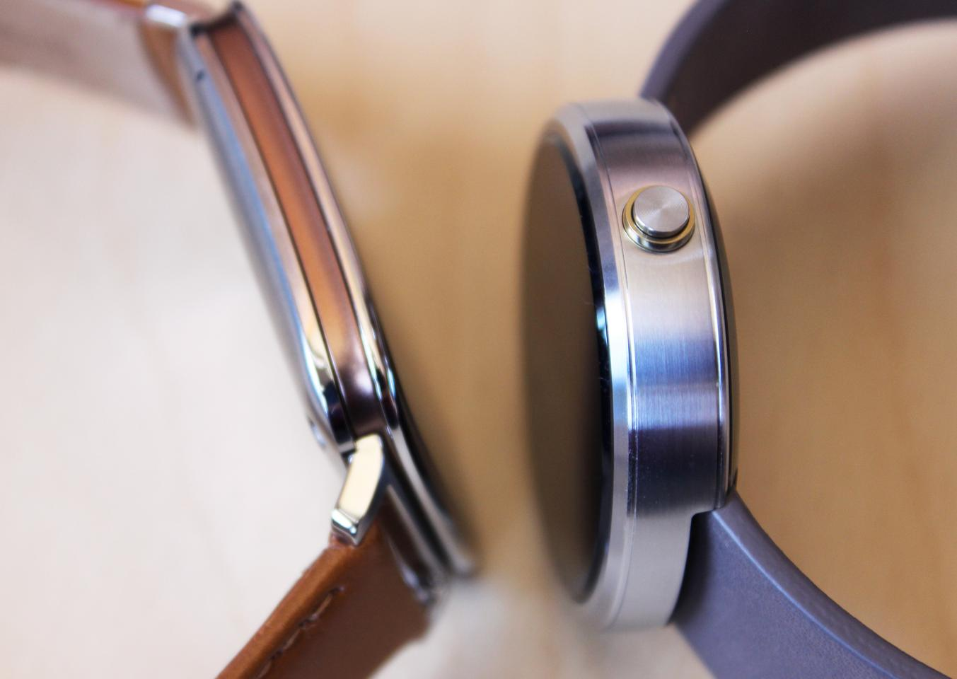 The Moto 360 (right) is 22 percent thicker than the Asus ZenWatch (Photo: Will Shanklin/Gizmag.com)