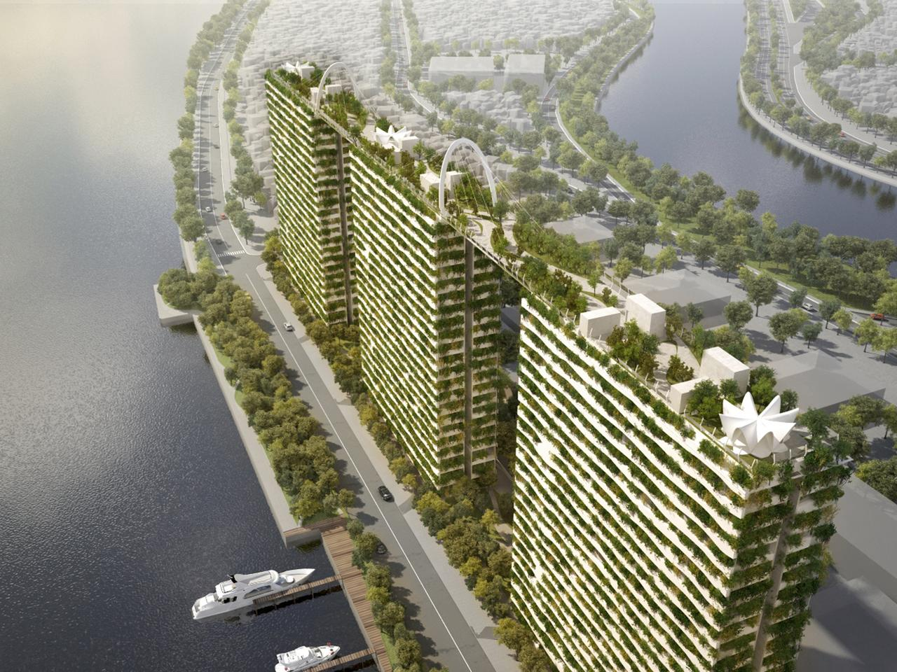 Designed for developers Phuc Khang Corporation, the concept comprises three towers rising to a height of 22 stories