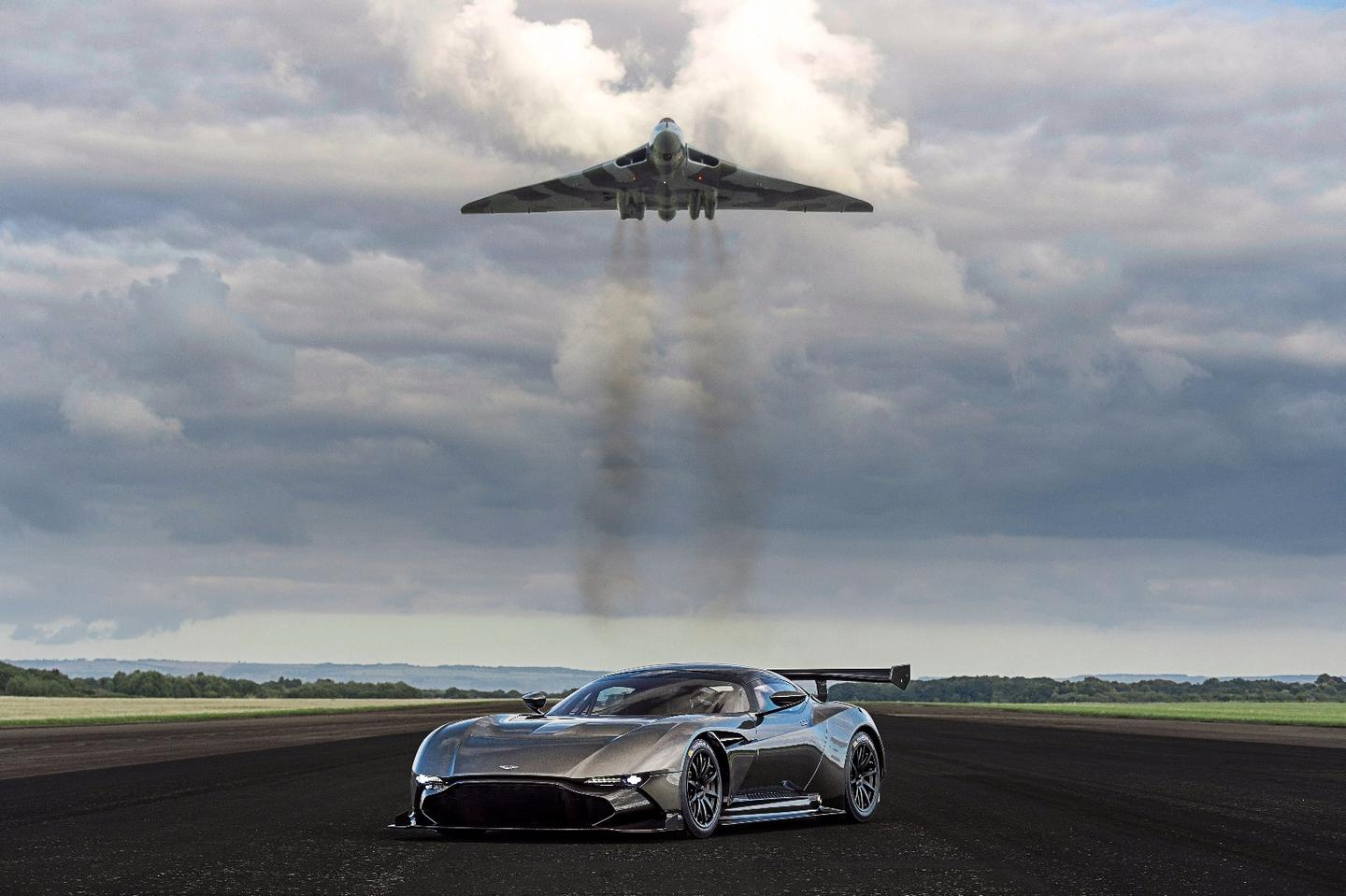 The original Aston Martin Vulcan and its namesake, the Vulcan bomber.