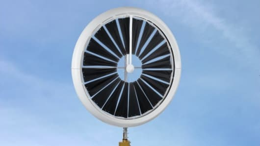 The Honeywell Windgate wind turbine from EarthTronics measures less than 6 feet (1.8m) across and weighs less than 95lbs (43kg)