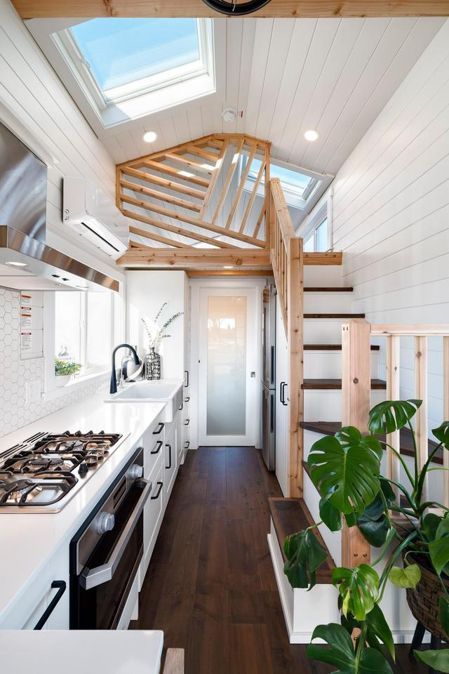 The floor, greenery and natural wood stairs add a subtle splash of color