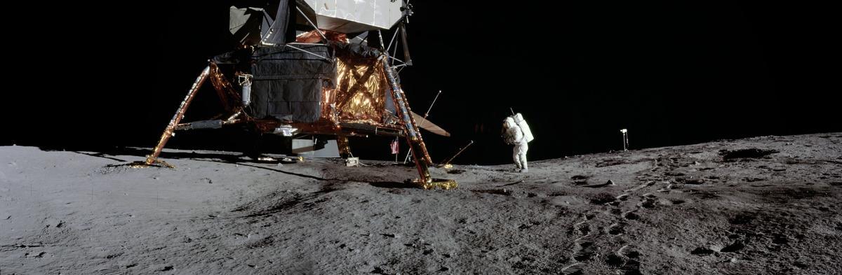 Lunar surface photos taken during Apollo 12 showlunar module pilot Alan L. Beanon the first moonwalk of the mission