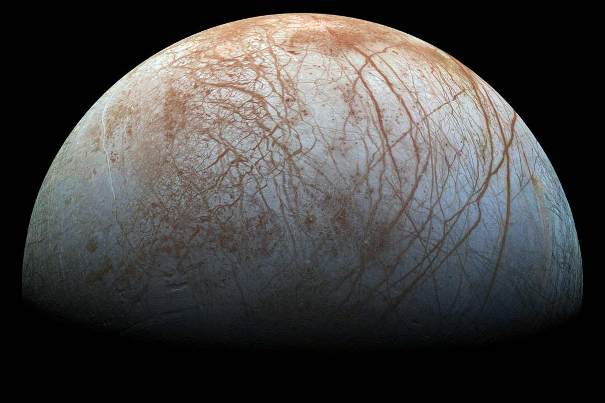 Color view of Jupiter's moon Europa, made from images snapped by NASA's Galileo spacecraft