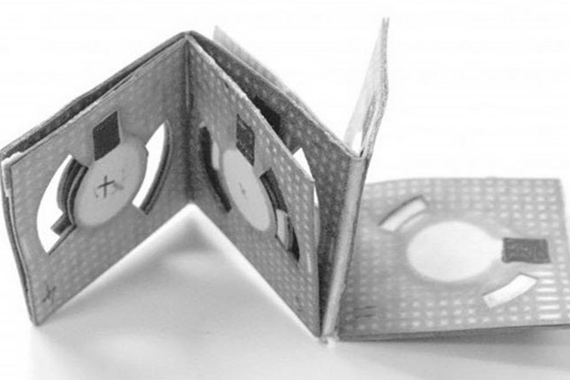 A folded paper battery powered by bacteria