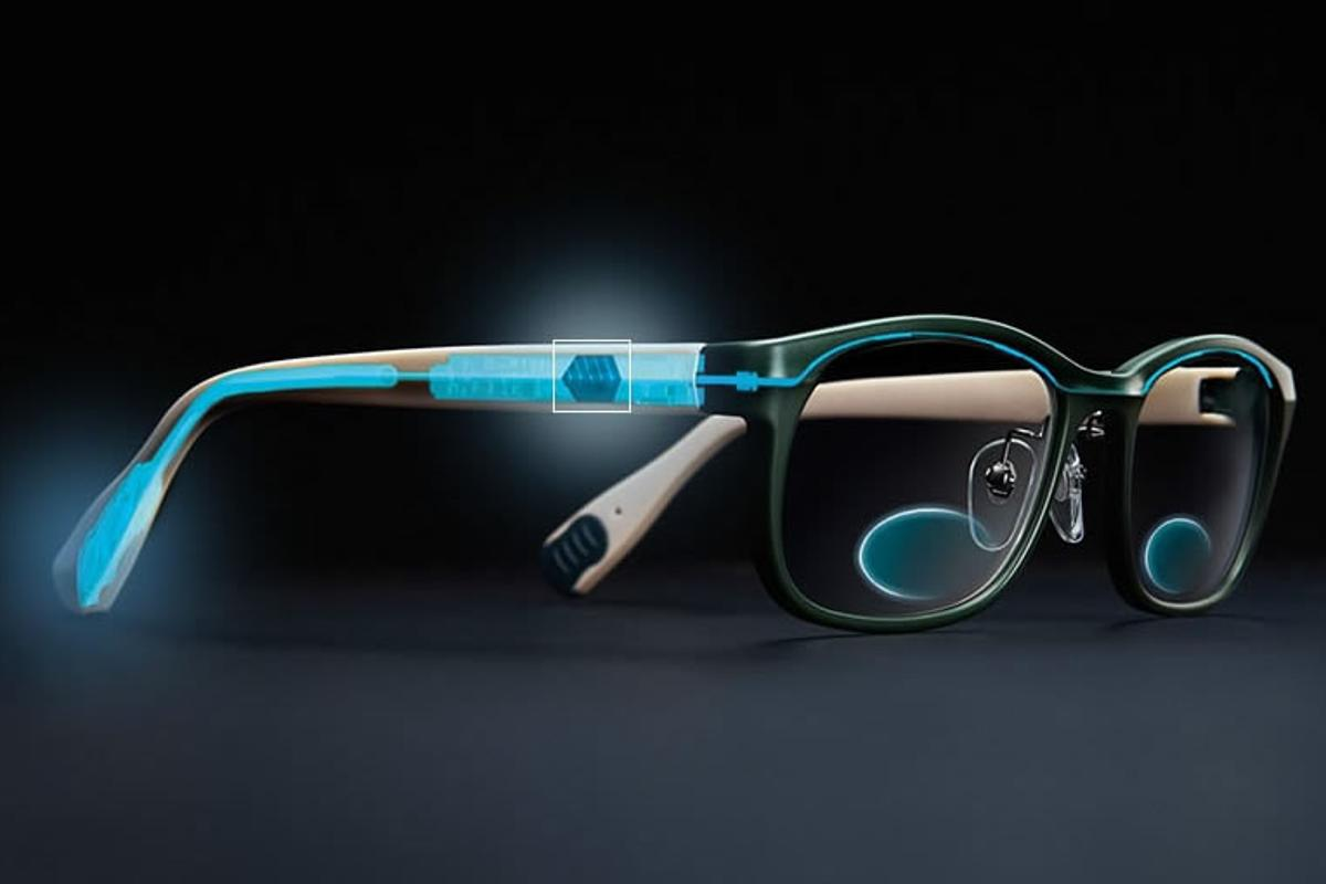 TouchFocus are electronically adaptive eyeglasses that switch to reading glasses at the touch of a button