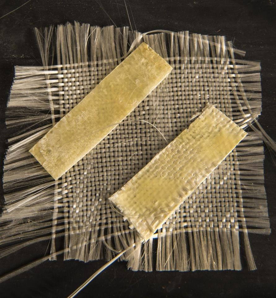 Samples of the fiber-reinforced reclaimed PET that were produced using the new technique