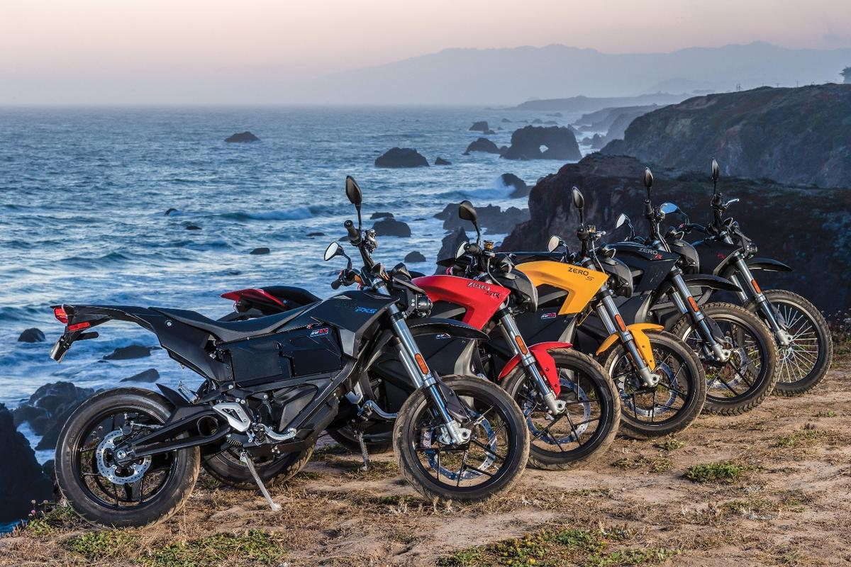 2016 Zero Motorcycles lineup: The FXS supermotard, with the SR and S streetbikes, the DSR dual-sport and the FX dirtbike.