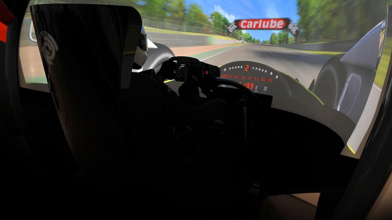 One of many different race car setups inside a Motion Simulation pod