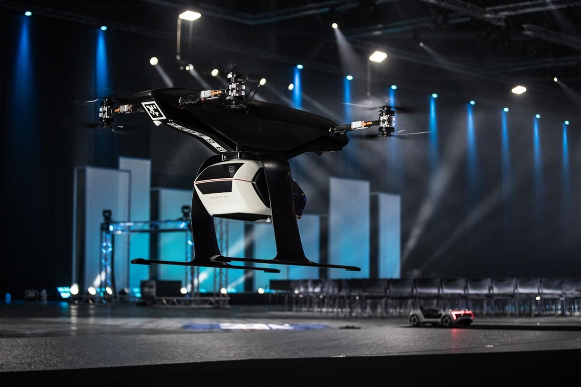 Audi is demonstrating 1:4 scale model of its Pop.Up Next transport system at Drone Week in Amsterdam