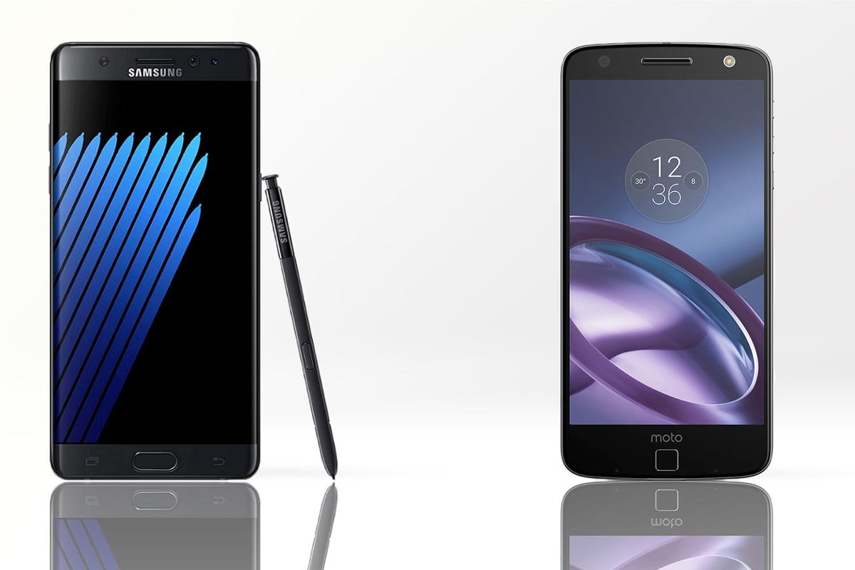 Comparing the Samsung Galaxy Note 7 (L) and the Moto Z (R)