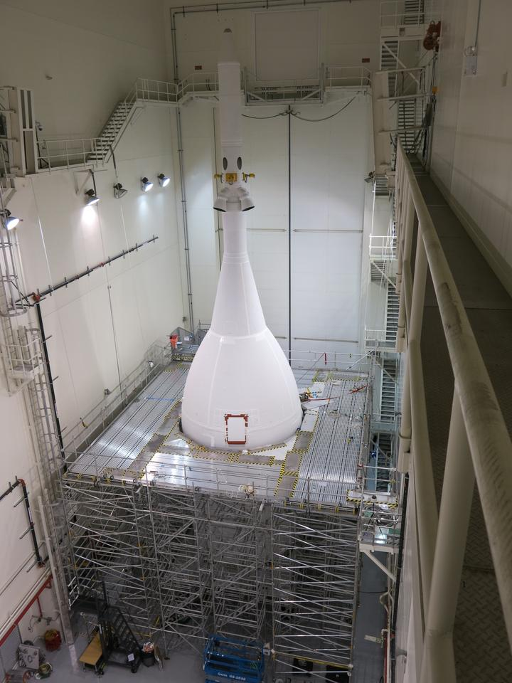 The 72-ft tall Orion spacecraft is now waiting inside the Launch Abort System Facility (LASF) at the Kennedy Space Center at Cape Canaveral