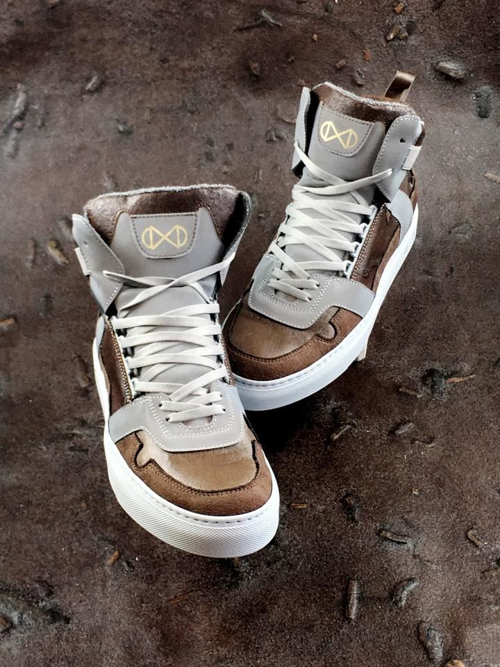 Two nat-2 Coffee line styles are available, the high-tops shown here and a low slung sneaker