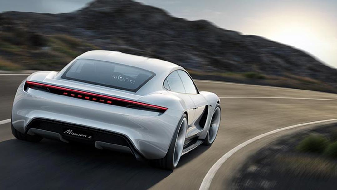 The Porsche Mission E debuted as a 590-hp electric four-door concept car