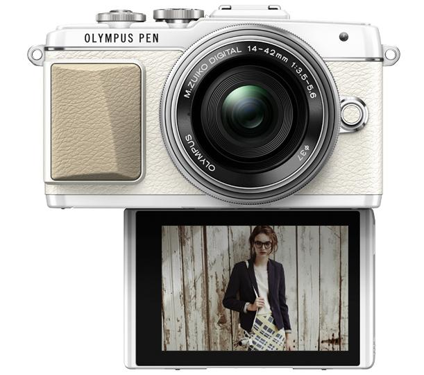 The rear monitor on the Olympus PEN E-PL7 tilts 180 degrees downward to make composing self portraits easier