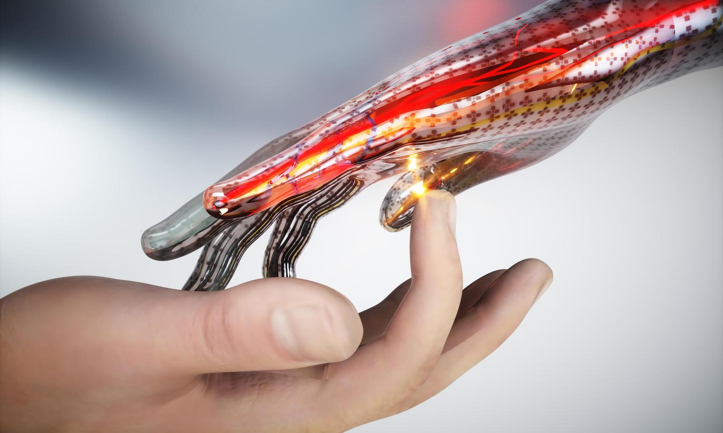 A conceptual image of a robotic skin that can sense pain, heat and pressure