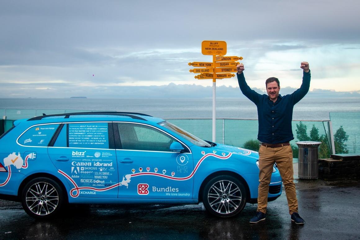 Wiebe Wakker and the Blue Bandit celebrate the actual end to the Plug Me In all-electric road trip from the Netherlands to New Zealand
