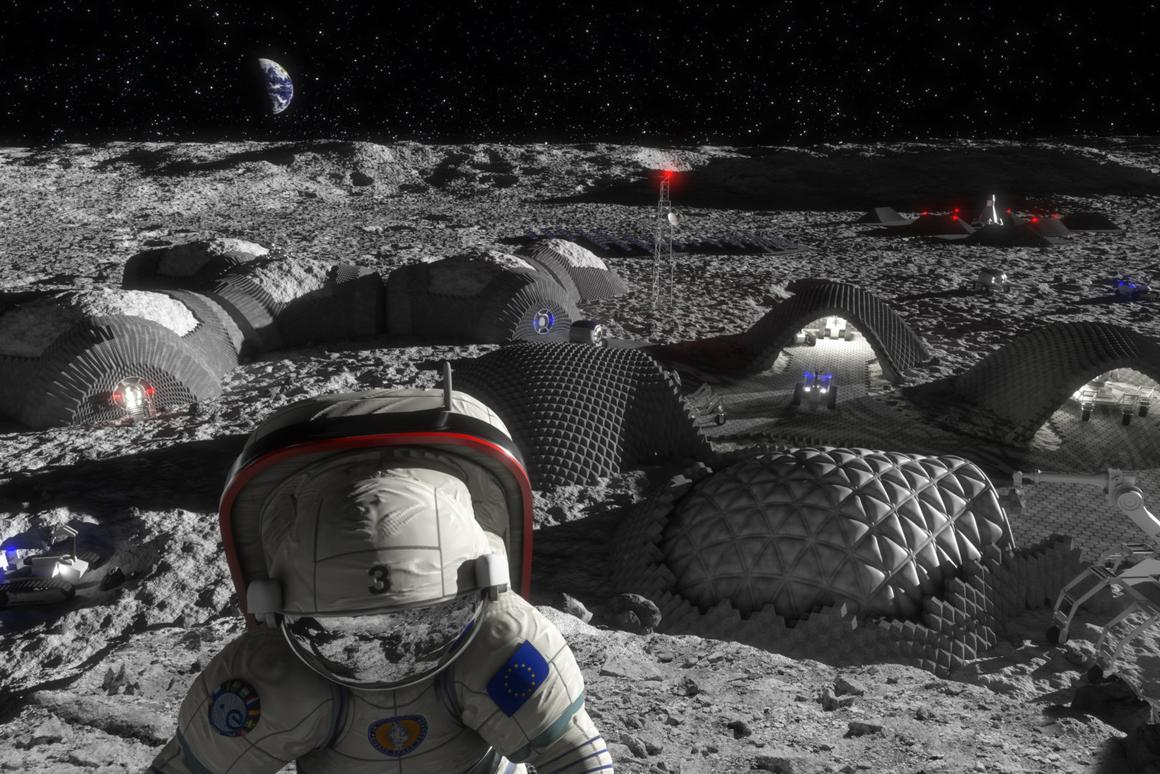 Artist's concept of a future lunar outpost, which could store energy in bricks made from lunar regolith