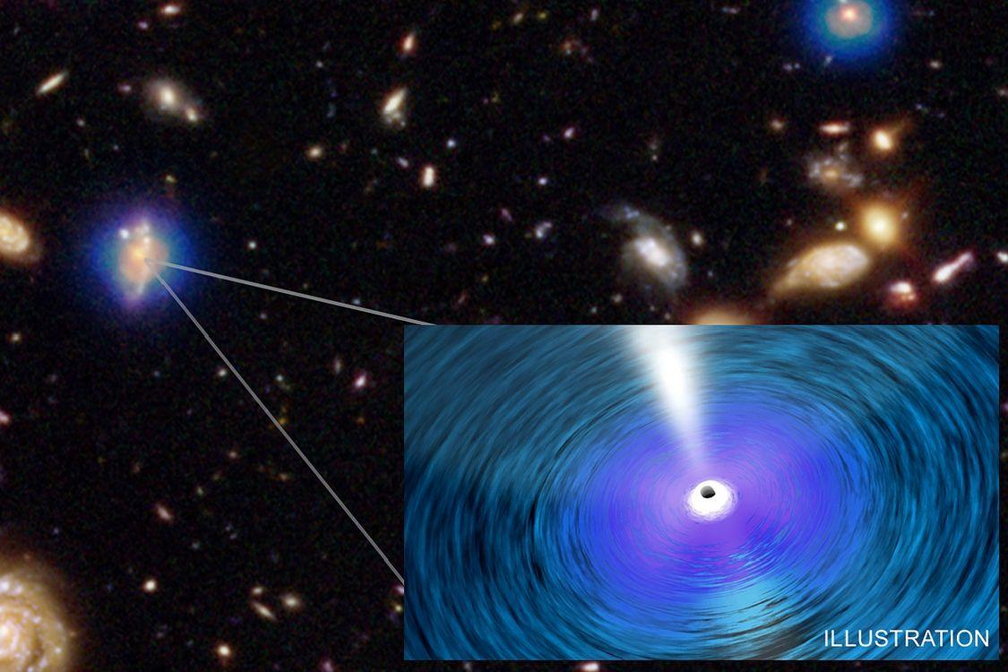 Anillustration of one of the ultramassive black holes discovered by the Spanish-Canadian team