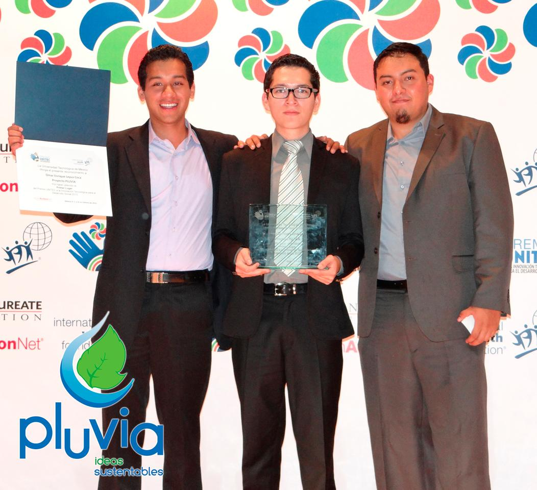 The three young inventors of the Pluvia system, which uses rainwater runoff to generate electricity
