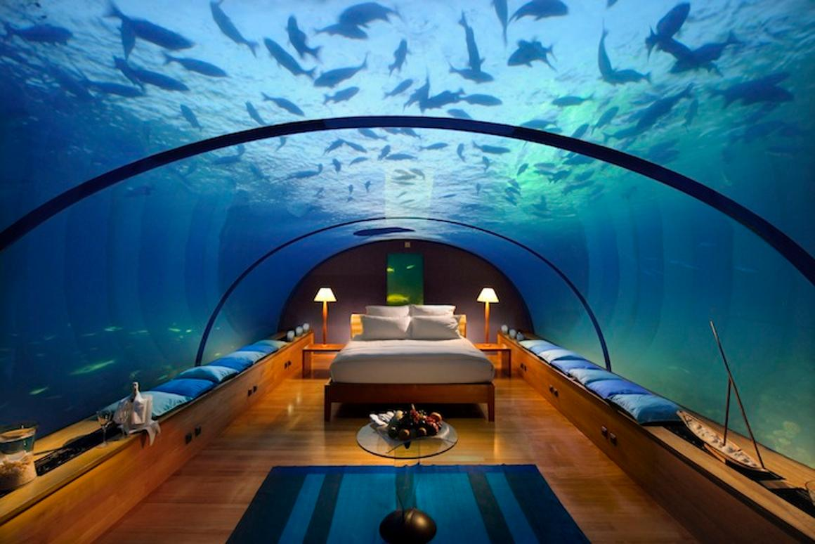 The resort has been known to transform the underwater dining room into a private bedroom suite for two on special occasions (Photo: Conrad Rangali)