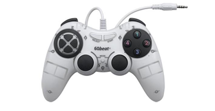 The 60beat GamePad plugs into iDevices via their 3.5 mm headphone jack