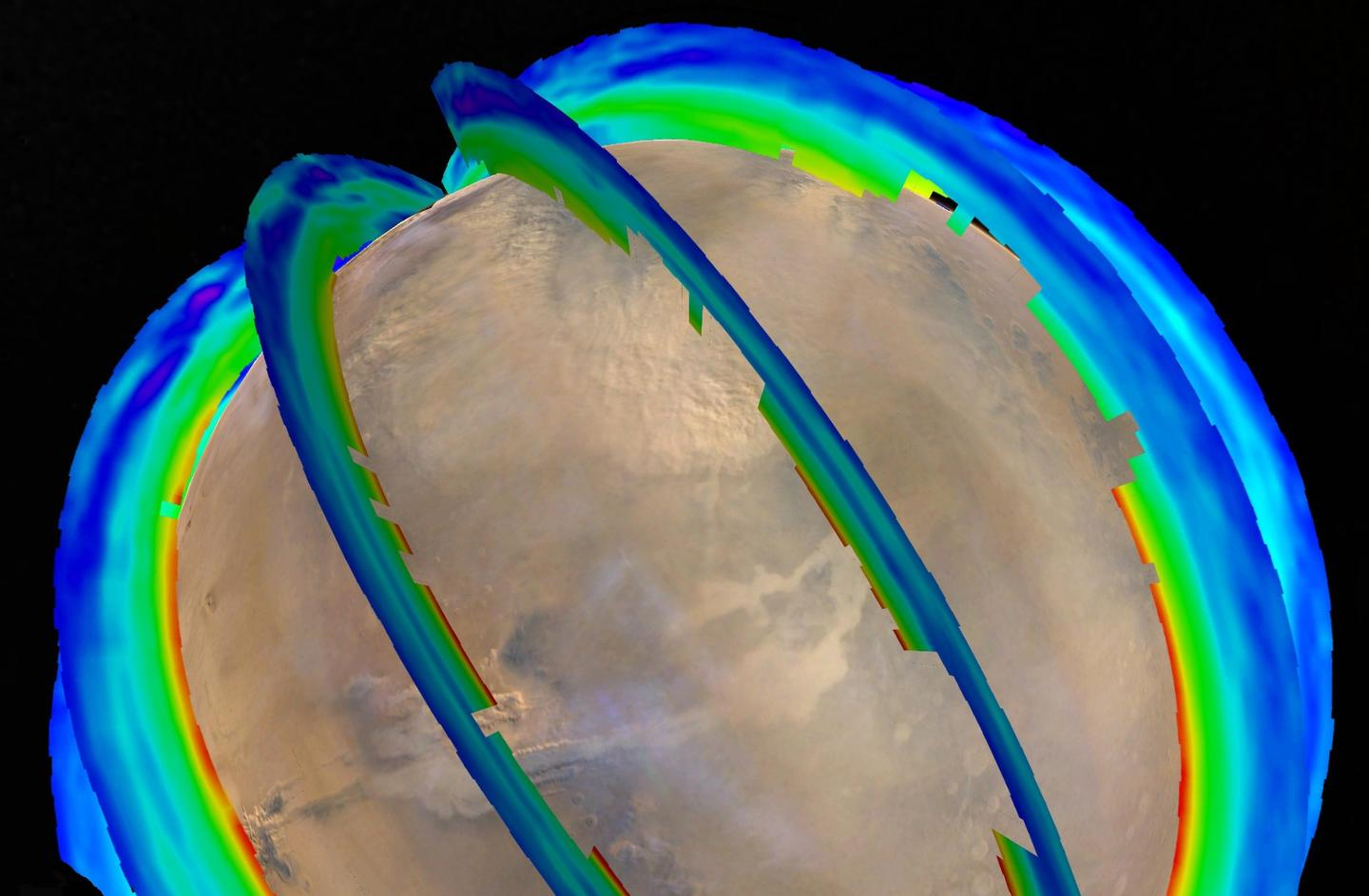 NASA image displaying temperature data as curtains overlaid on an image of Mars, captured as a dust storm obscured the Acidalia Planitia region of northern Mars
