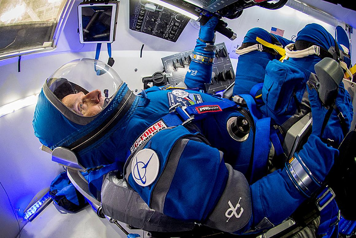Former astronaut Chris Ferguson in the Boeing Blue spacesuit