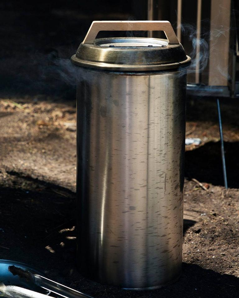 The Smokemeister is inspired by a type of BBQ smoker known as a bullet smoker, or vertical smoker