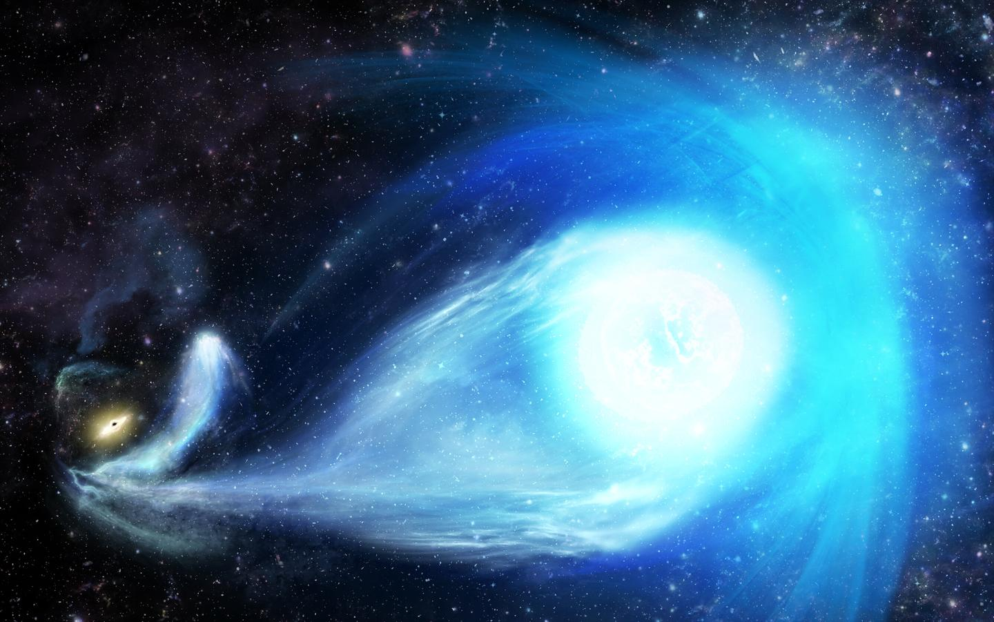 An artist's rendition of a hypervelocity star, being ejected away from a supermassive black hole