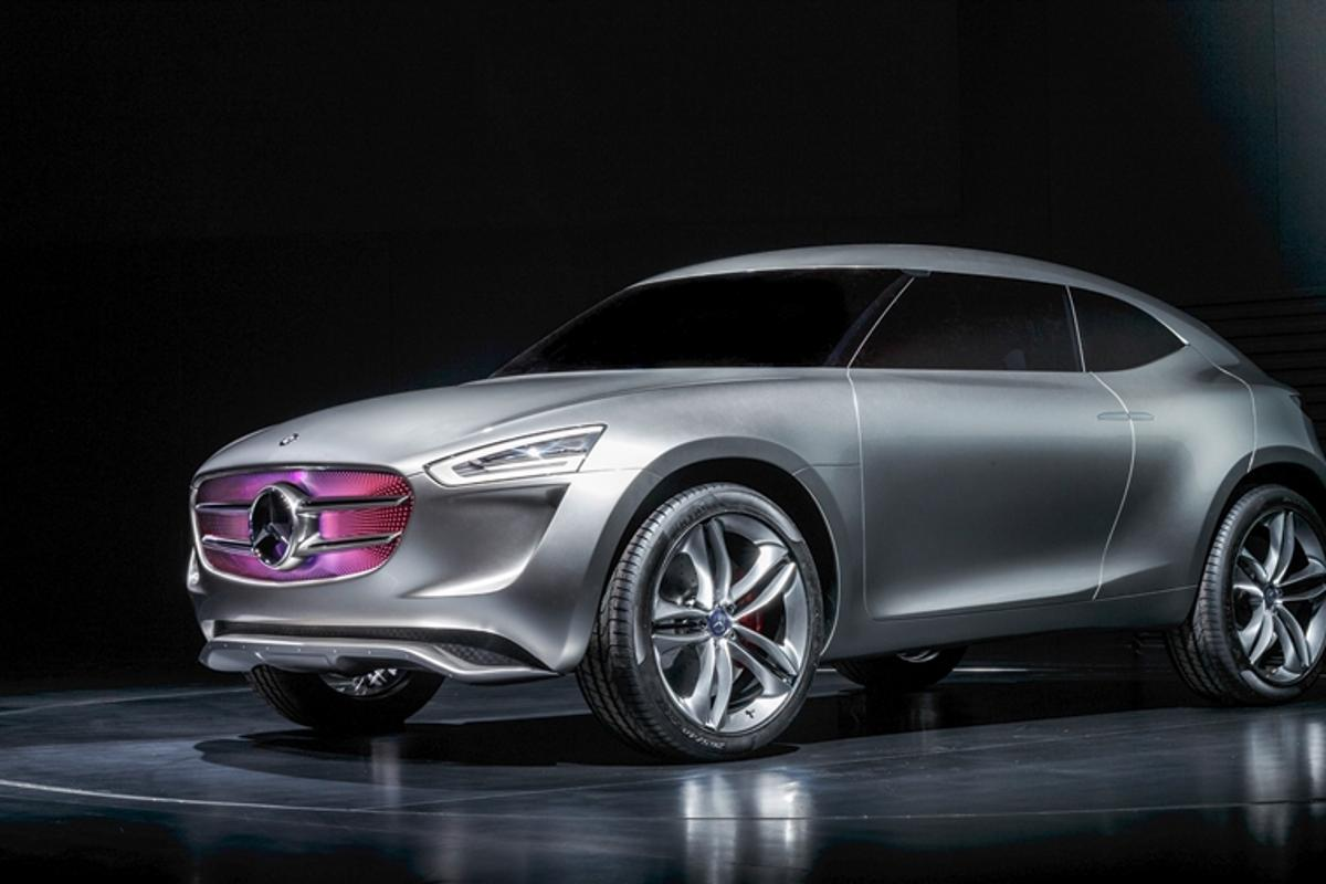 The Mercedes-Benz Vision G-Code concept car has multi-voltaic silver paint that harvests solar and wind energy