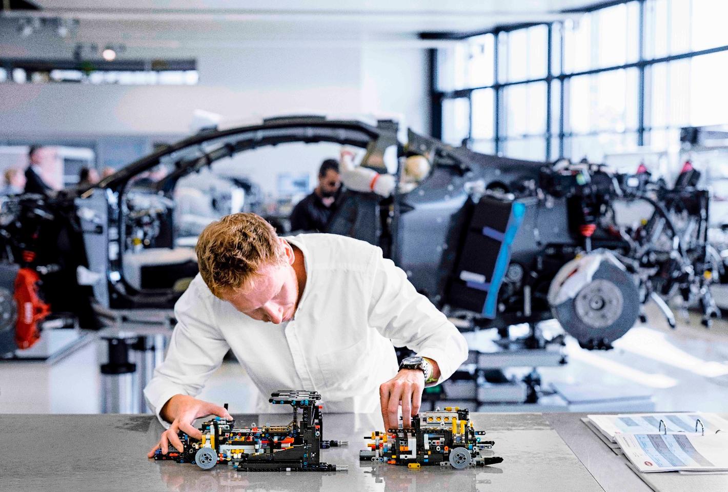 Lego Technic designerAurelien Rouffiange at the Bugatti factory in France