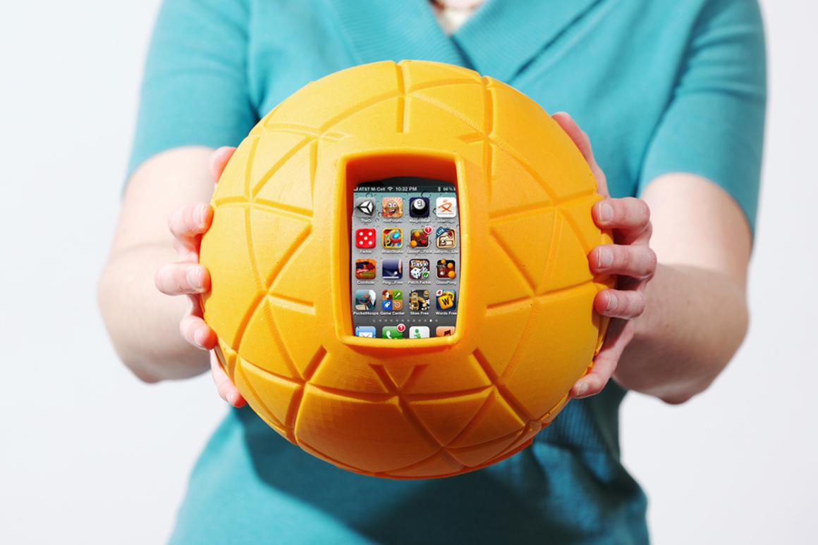 TheO Ball is designed to hold your phone within its cushioned grasp, allowing you to literally throw your phone around to play games without fear of damage