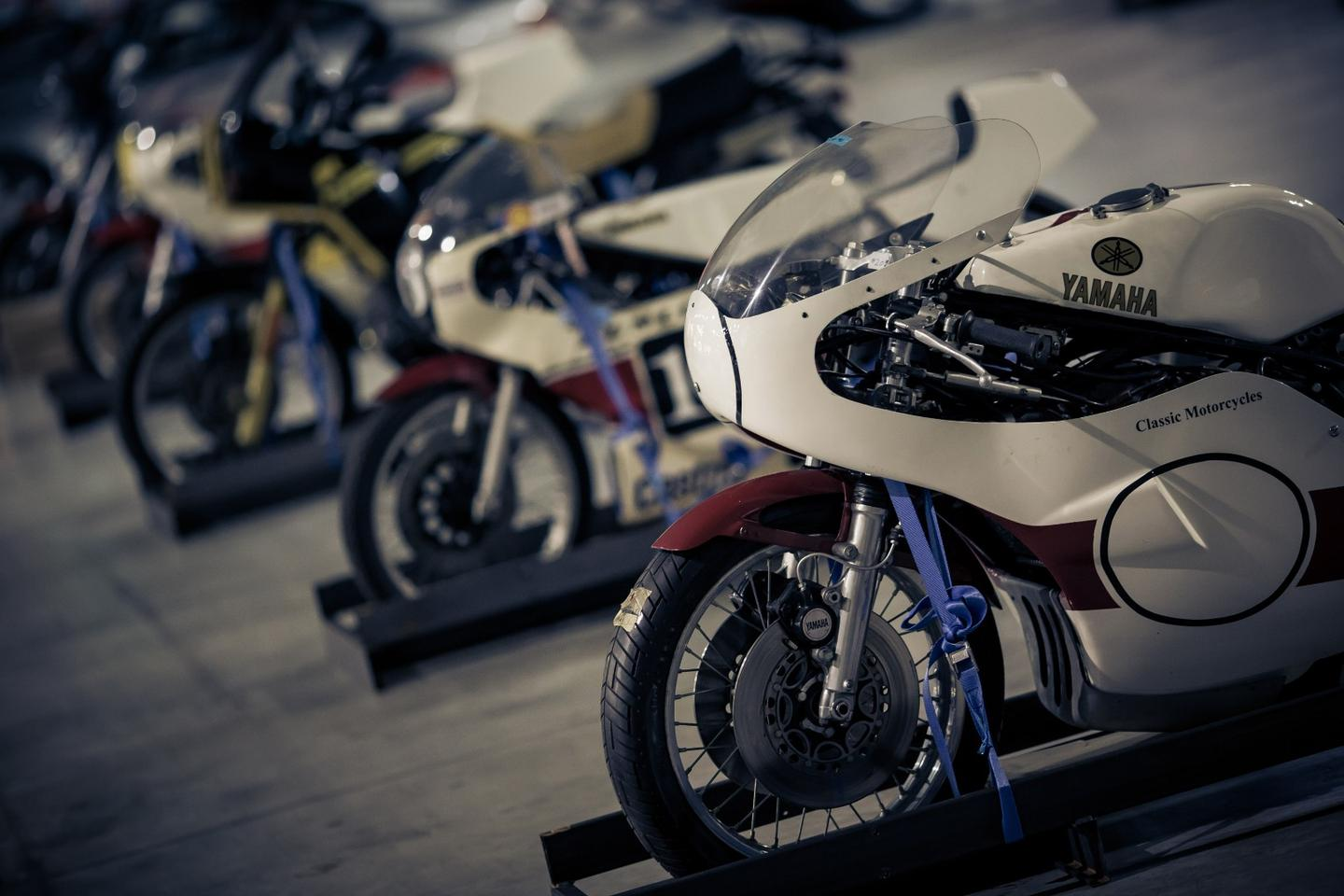 Just about every significant model of Yamaha's TZ production racing range was included in the collection.