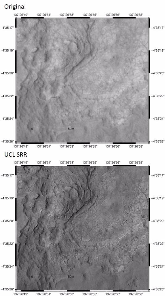 The Shaler formation and the John Klein drill-spot on the MSL Curiosity traverse comparing original and SRR