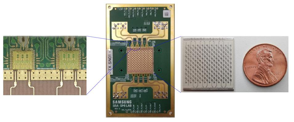 The different components of Samsung's new 6G prototype: radio frequency circuits (left), the phased-array module (center), and the antenna array (right)