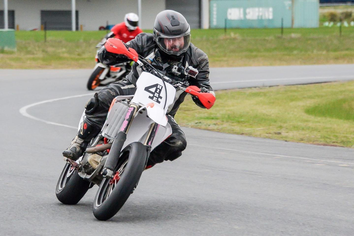 Loz on the CRF450R supermotard toward the end of the day