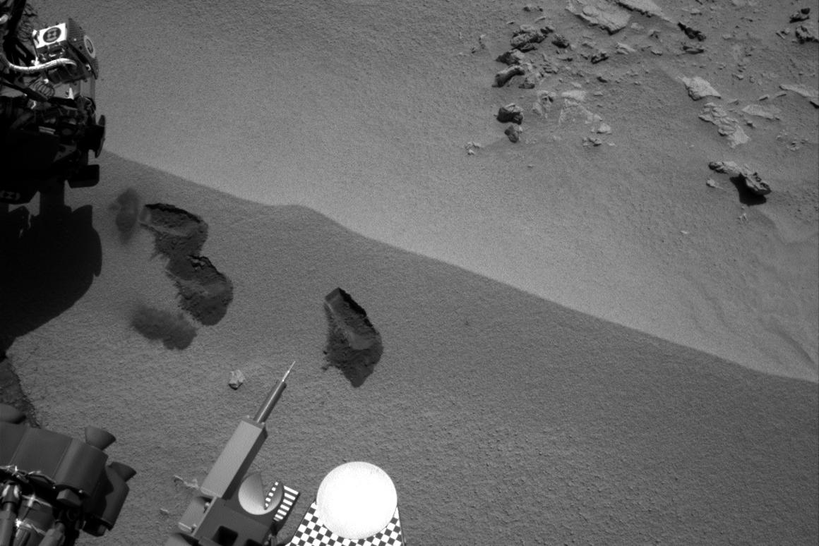 The first three bite marks of Curiosity's robotic arm (Image: NASA/JPL-Caltech)