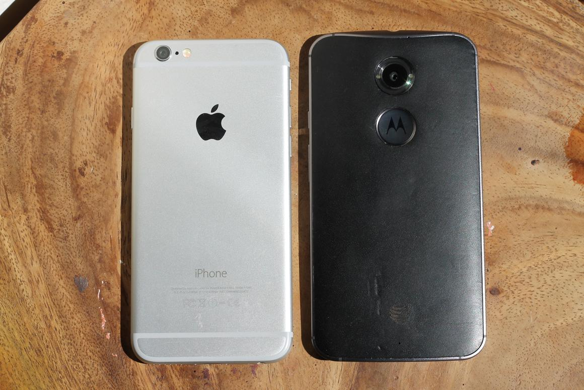 The Moto X in leather and the iPhone 6 in space gray