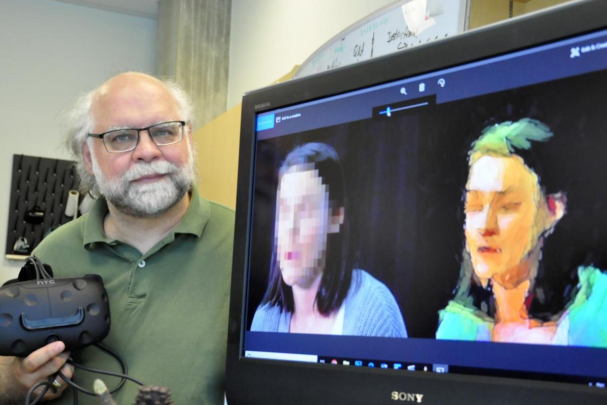 Prof. Steve DiPaola with examples of a pixelated facial image (left) and one that's been anonymized using the AI painting technique