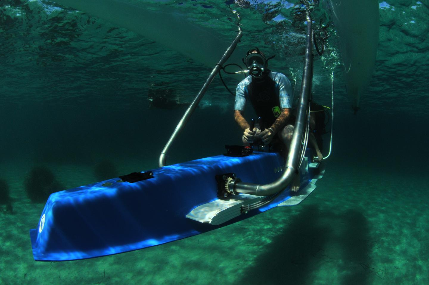 In dive mode, the passengers are about 2 m (6.5 ft) below the surface