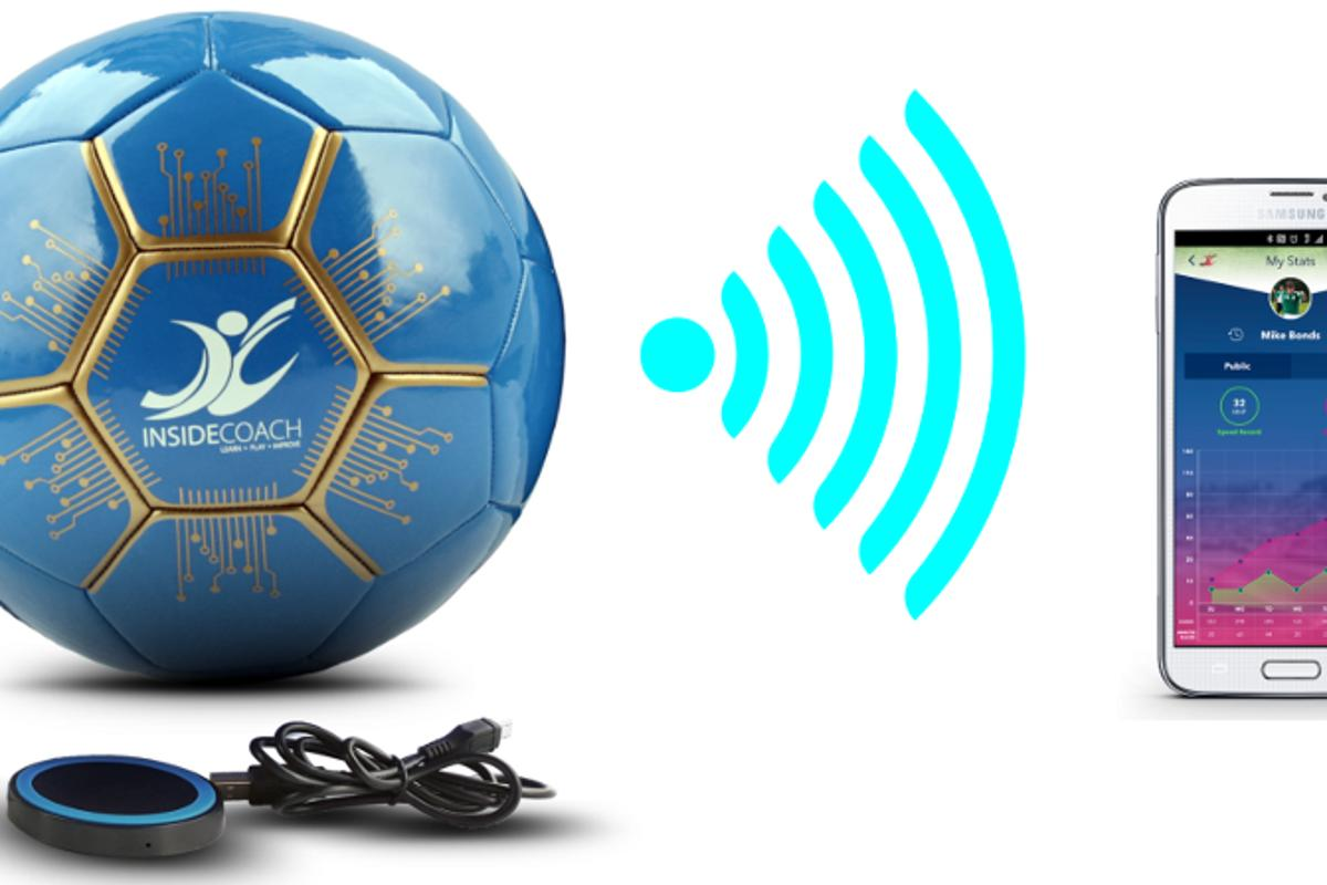 The InsideCoach smart soccer ball includes a dedicated app and charging plate