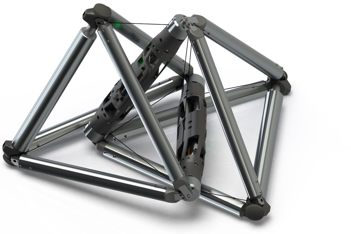 A rendering of the DucTT robot, which is made up of two cable-connected tetrahedrons