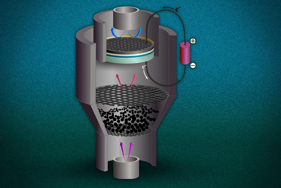 An artist's rendering of a possible hybrid system showing steam (pink arrows) passing through pulverized coal, and releasing gas which goes through a fuel cell at the top to create electricity