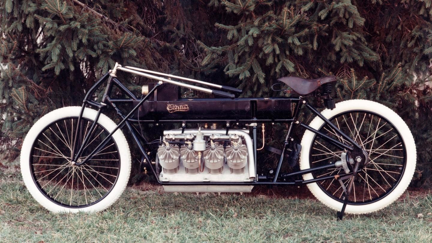 Curtiss was in the saddle of the motorcycles which set land speed records in 1903 and 1907