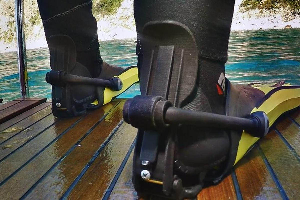 The Finclip system can be retrofitted to any open-heel type fins