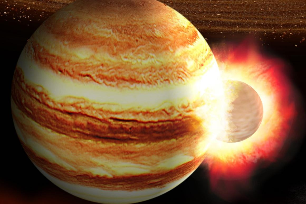 An artist's impression of a collision between Jupiter and a large, ancient planetoid that would havedisrupted its core